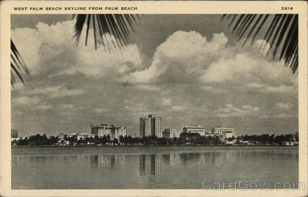 West Palm Beach Skyline from Palm Beach Florida