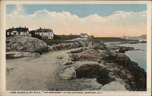 View Along the Cliff Walk, The Breakers in the Distance Newport Rhode Island