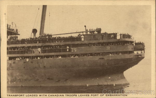 Transport Loaded with Canadian Troops Leaves Port of Embarkation Montreal Canada