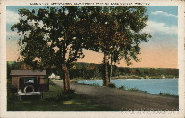 lake drive approaching cedar point park on lake geneva wisconsin postcard. Black Bedroom Furniture Sets. Home Design Ideas