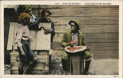 Three Boys Talking to Another Eating Watermelon