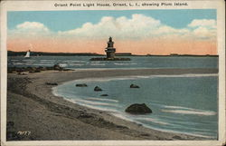 Orient Point Light House, Orient, L. I., Showing Plum Island