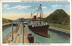 Chilean Liner S.S. Teno in Pedro Miguel Locks, Panama Canal