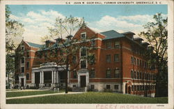 John M Greer Hall, Furman University Postcard
