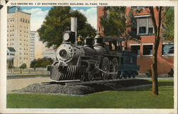 Old Engine No.1 at Southern Pacific Building Postcard