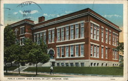 Public Library and High School Postcard