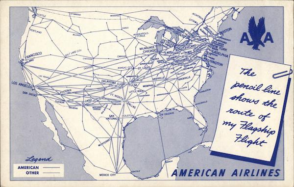 Route of the Flagship Flight, American Airlines Maps