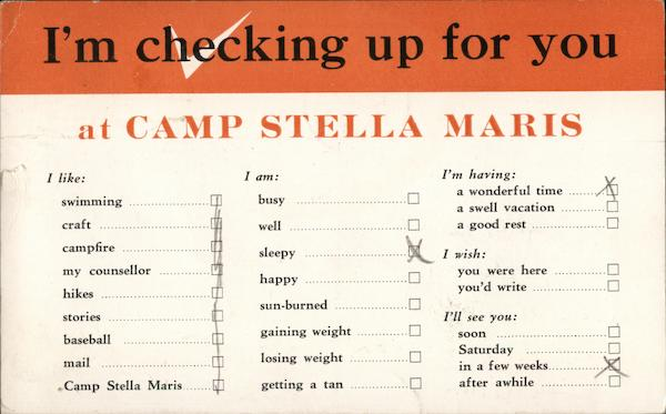 I'm Checking Up For You at Camp Stella Maris Livonia New York
