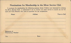 Membership Nomination Form, Silver Service Club