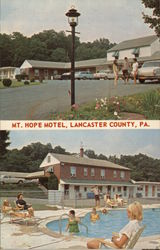 Mt. Hope Motel - Building and Poolside Views Postcard