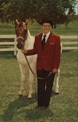 C. B. Owens, Founder of Owens Country Sausage Horses Postcard