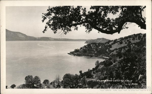 Broad View of Lake and Surrounding Mountains Clearlake California