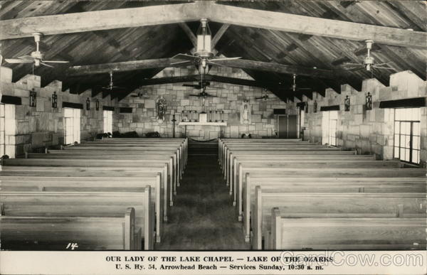 Rows of Pews in Our Lady of the Lake Chapel - Arrowhead Beach Lake Ozark Missouri