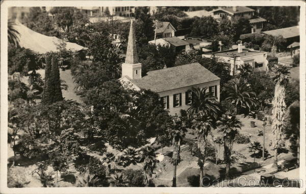 Aerial View of Church, Palm Trees and Surrounding Town Long Beach California