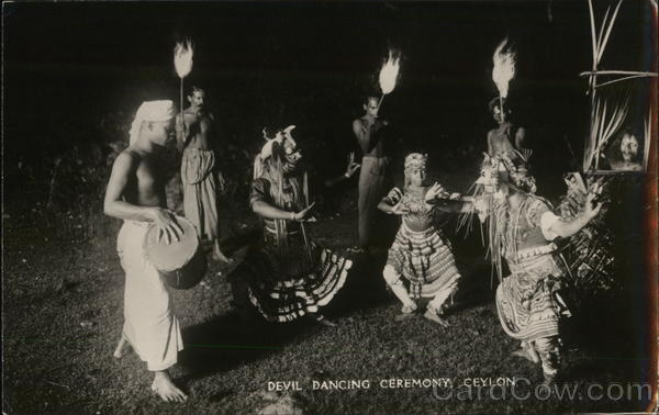 Devil Dancing Ceremony Ceylon Southeast Asia