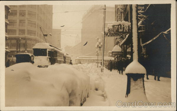 Snow Covered Street, Streetcars, Haight Building Buildings
