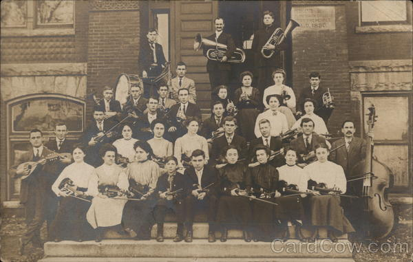 College Orchestra Posing on Steps with Instruments Hoopeston Illinois