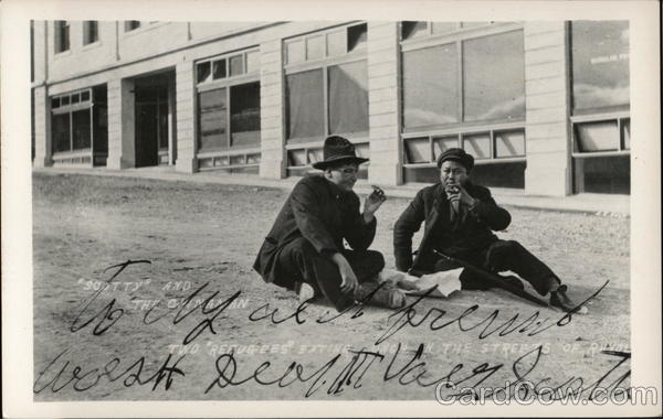 Scotty and the Chinaman - Two refugees sitting in the streets of Ravol Rhyolite Nevada