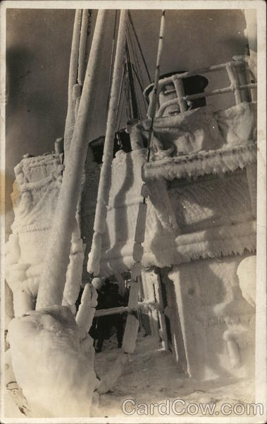 Portion of Ship Deck Covered with Thick Ice Boats, Ships