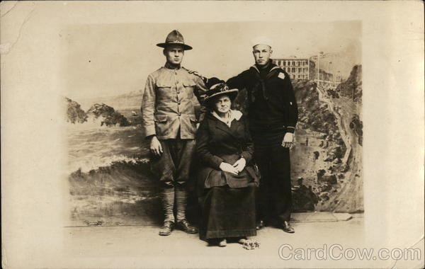 A Soldier and a Sailor Posing with an Older Woman Military