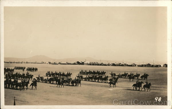 Soldiers on Horseback in Formation on Large Field Military