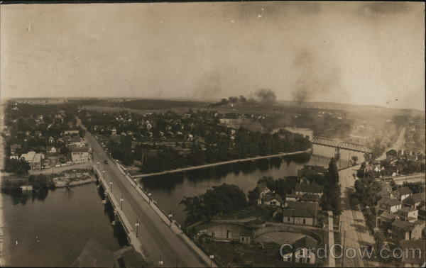 Aerial View of City with Bridge and Main Street South Bend Indiana