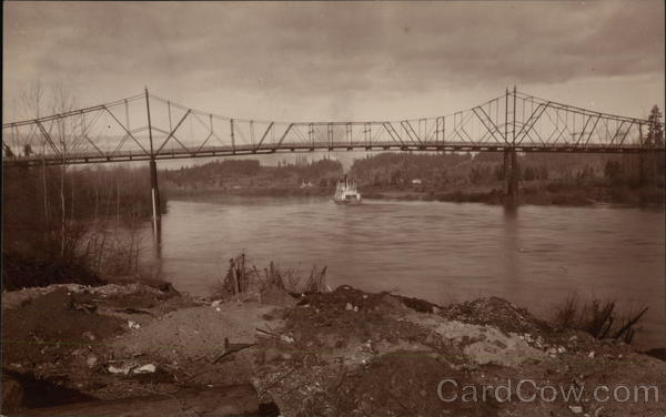 Bridge Above River with Oncoming Vessel Albany New York