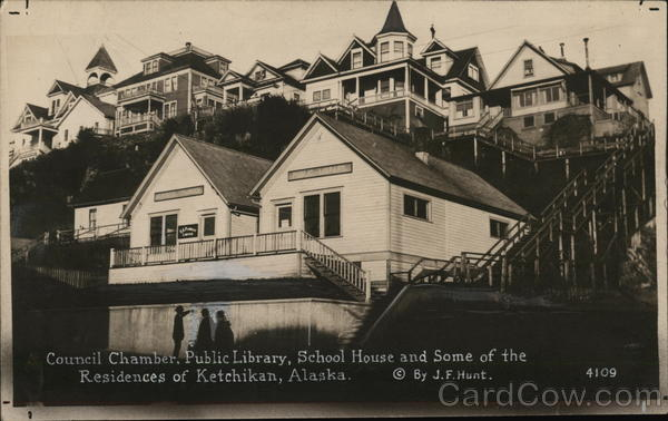Council Chamber, Public Library, School House and some Residences Ketchikan Alaska