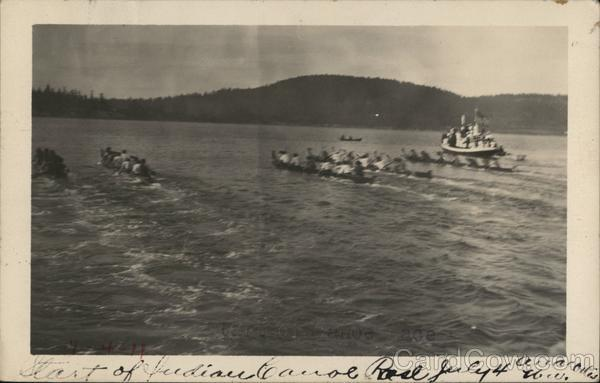 Indian Canoe Racing Anacortes Wa Postcard