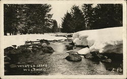 Winter Scene - Stream with Rocks and Snow-Covered Banks