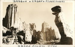 The Dragon and the Organ - Rock Formations, Fisher Towers Postcard