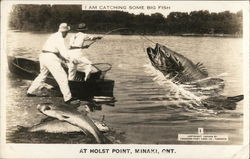 Two Men Catching Large Fish at Holst Point, Minaki, Ontario