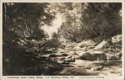 Creek with Large Rocks with Trees on Each Side - Greetings from Camp Baldy