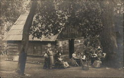 Group at Cabin, Cold Brook Camp