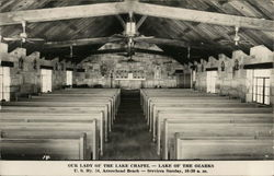 Rows of Pews in Our Lady of the Lake Chapel - Arrowhead Beach Postcard