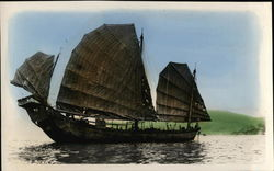 Chinese Junk Ship with Sails in Water Postcard