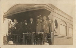 Group of Male Dignitaries on Deck of Train Car
