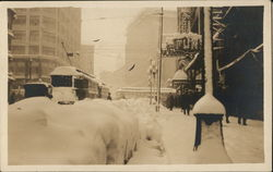 Snow Covered Street, Streetcars, Haight Building