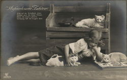 Girl Laying on Floor with Book and Three Cats