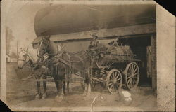 Man on Wagon with Tank and Two Horses Postcard