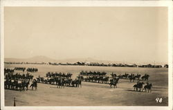 Soldiers on Horseback in Formation on Large Field