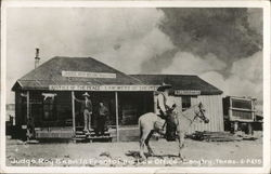 Judge Roy Bean in front of his Law Office Postcard