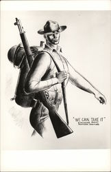 Male Soldier with Rifle on Shoulder and Backpack