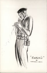 Sketch of Uniformed Soldier Attempting to Roll Cigarette