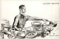 Uniformed Soldier with Stacks of Empty Dishes and Food