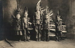 Five Boys Dressed in Native American Clothing