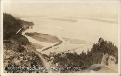 Looking Down on Rooster Rock Postcard