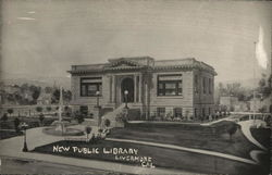 Street View of New Public Library Postcard
