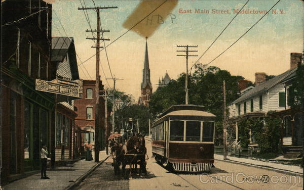 East Main Street Middletown New York Trolleys & Streetcars