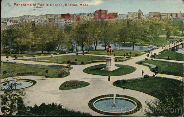 Panorama of Public Garden Boston Massachusetts